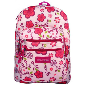 Trail Maker Pink Purple Spring Flowers Pattern Daypack Backpack School Bag