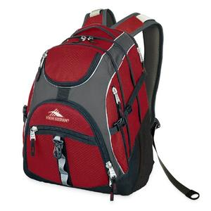 high sierra access backpack in carmine red and charcoal