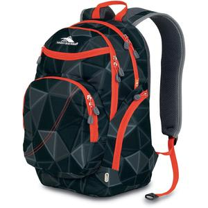 high sierra boondock backpack in black pattern and red