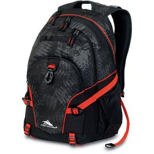 high sierra loop backpack in black treads and red line