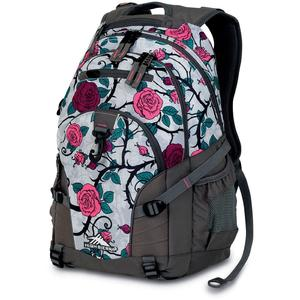 high sierra loop backpack in charcoal grey flowers pattern