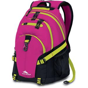 high sierra loop backpack in pink with fuchsia black chartreuse