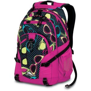 high sierra loop backpack in pink with sunglasses pattern