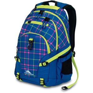 high sierra loop backpack in prep plaid and royal cobalt