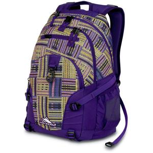 high sierra loop backpack in purple basket weave pattern