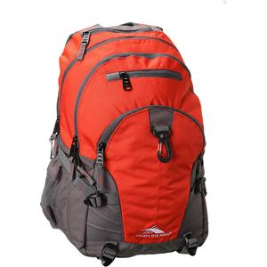 high sierra loop backpack in red line charcoal