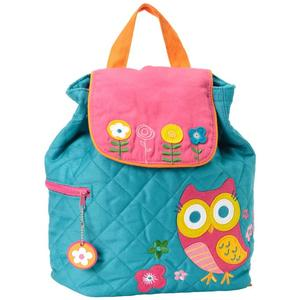 Green quilted girls backpack with own ornament decoration