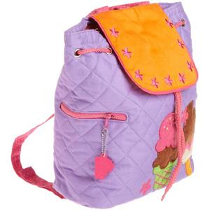 Purple quilted backpack for young girls