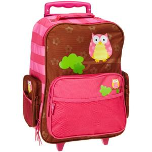 Rolling backpack for girls with cute front design