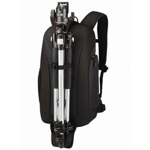 Convenient tripod fitting into Lowepro camera backpack