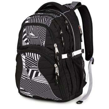 High Sierra Swerve Backpack in black and white pattern