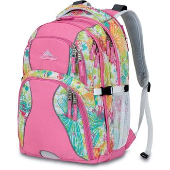 High Sierra Swerve Backpack in pink floral pattern